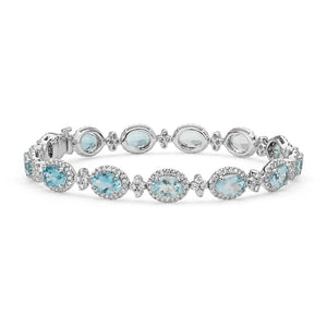 Aquamarine And Diamonds Lady Bracelet 40.25 Carats 14K White Gold Gemstone Bracelet