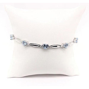 Aquamarine Heart Shape Diamond Bracelet 9.54 Carats F Vs1 Jewelry Gemstone Bracelet