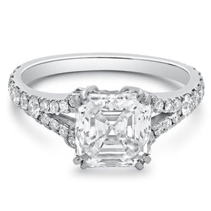Asscher Cut 3.26 Carats Diamond Solitaire Ring With Accent 14K Gold Solitaire Ring with Accents