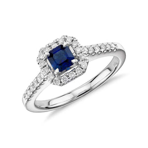 Asscher Cut Blue Sapphire And Diamond Ring White Gold 1.55 Carats Gemstone Ring