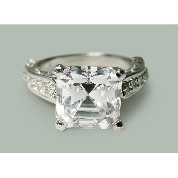 Asscher Cut Center Diamond Engagement Ring White Gold 3.28 Carats Engagement Ring