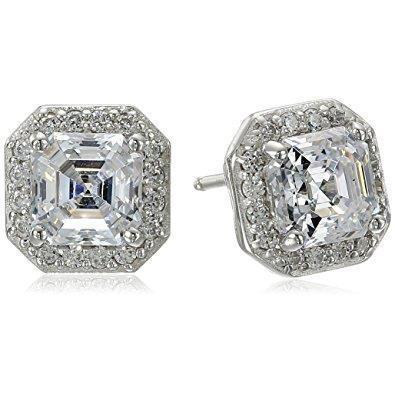 Asscher Cut Halo Diamond Stud Earring 2.80 Carats Solid White Gold Women Jewelry Halo Stud Earrings