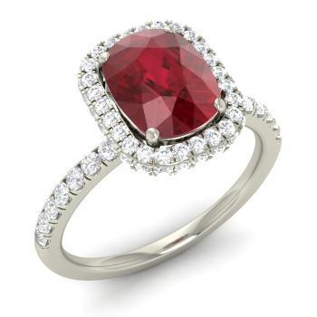 Asscher Cut Red Ruby With Diamond Ring Lady Men Jewelry White Gold Gemstone Ring