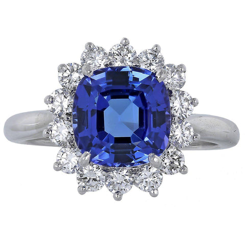 Asscher Cut Tanzanite With Round Diamonds 4.5 Ct Ring 14K White Gold Gemstone Ring