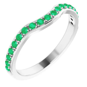 Band 1.20 Carats Prong Setting Columbian Green Emerald Women Jewelry Band