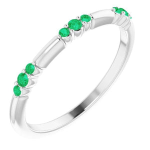 Band Columbian Green Emeralds 0.60 Carats Women Jewelry Band