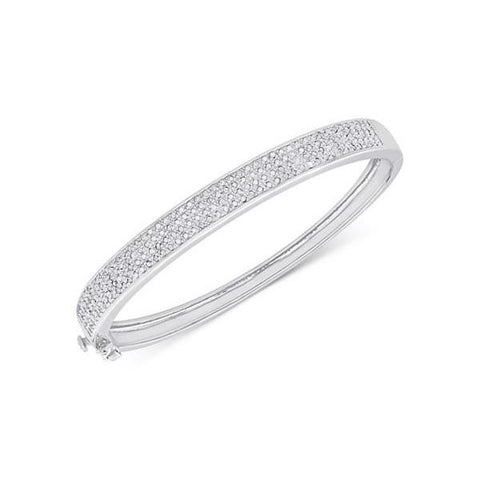 Bangle Bracelet 4 Carats Round Brilliant Cut Diamonds White Gold 14K Bangle