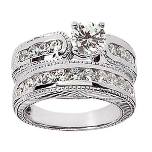 Beautiful 2.01 Carat Diamonds Engagement Ring Set White Gold Engagement Ring Set