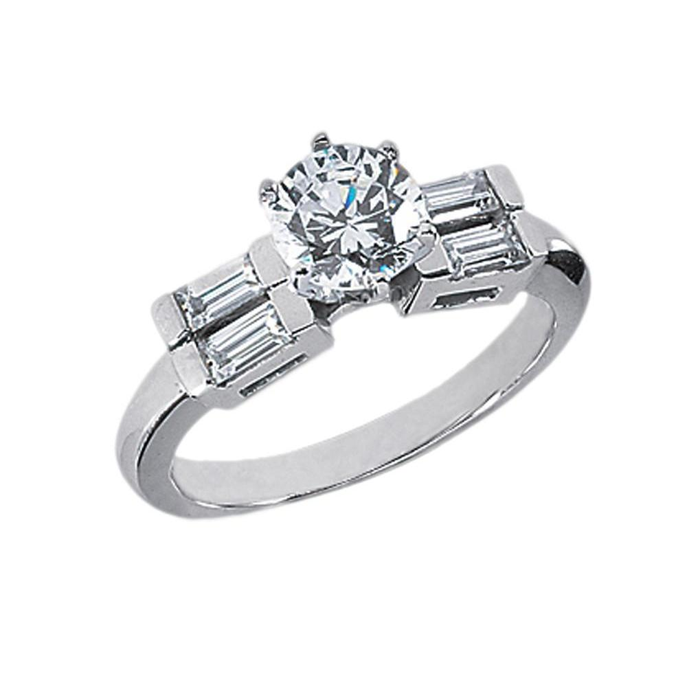 Beautiful Diamonds 5 Stone Ring 2.01 Carats White Gold Round With Four Straight Baguettes Ring
