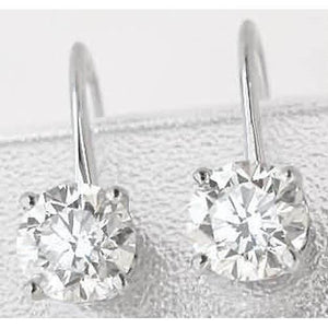 Beautiful Round Diamond Lever Back Earring White Gold 14K 1.5 Carats Earrings