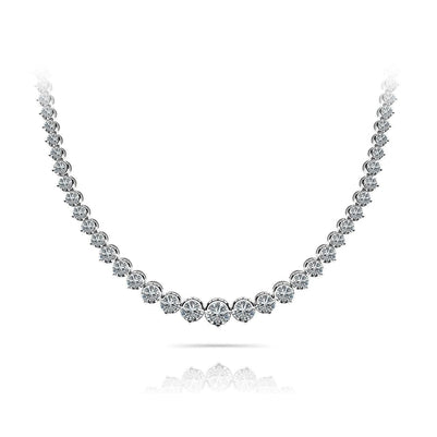 Beautiful White Round Diamond Tennis Necklace 12 Carats Women Gold Jewelry Necklace