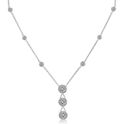 Bezel Milligrain Setting 3.15 Ct Yard Necklace White Gold 14K Necklace