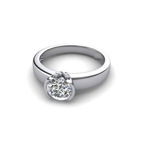 Bezel Set 1.50 Ct Brilliant Cut Diamond Solitaire Ring 14K White Gold Solitaire Ring