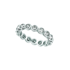 Bezel Set Diamond Eternity Band Ring 1 Carats 14K White Ring