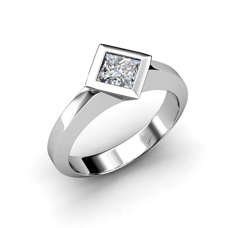 Bezel Set Princess Cut 1.50 Ct Solitaire Diamond Wedding Ring Gold Solitaire Ring
