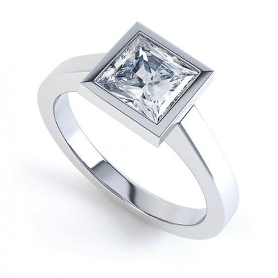 Bezel Set Princess Cut 2.50Ct Diamond Anniversary Solitaire Ring White Gold 14K Solitaire Ring