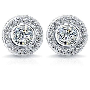 Bezel Set Round Cut 4.00 Carats Diamonds Studs Halo Earrings White Gold Halo Stud Earrings