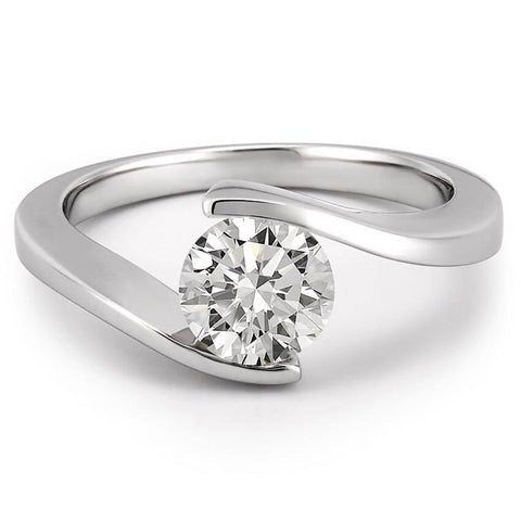 Bezel Set Solitaire 0.75 Carat Diamond Engagement Ring White Gold 14K Solitaire Ring