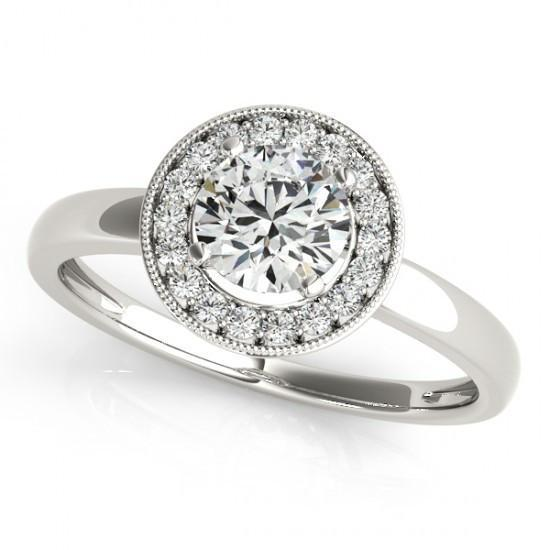 Bezel Setting 1.10 Carats Round Diamonds Anniversary Halo Ring White Gold 14K Halo Ring