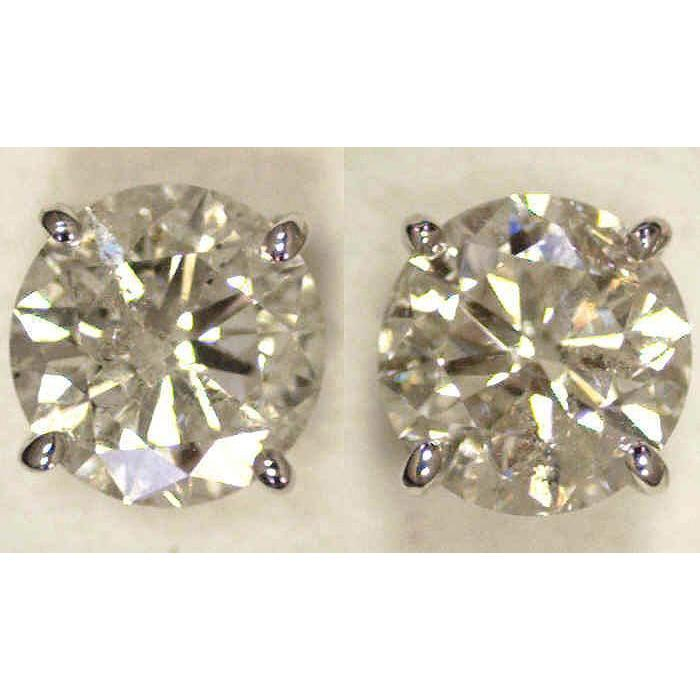 Big 5 Carat Diamonds Stud Earrings White Gold New J I1 Stud Earrings