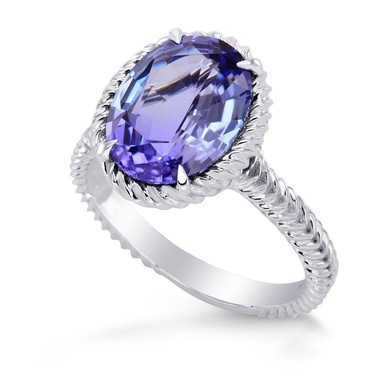 Big 5.00 Carat Oval Cut Prong Set Tanzanite Ring White Gemstone Ring