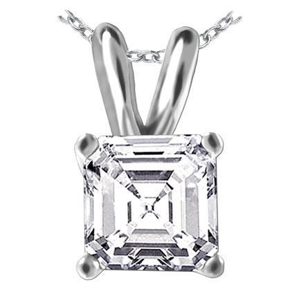 Big Asscher Cut Solitaire Diamond Ladies Pendant 3 Carats White Gold Jewelry Pendant