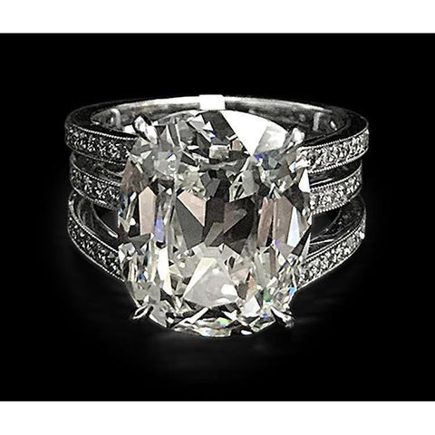 Big Cushion Cut Diamond Engagement Ring White Gold 14K 7.5 Carats Engagement Ring