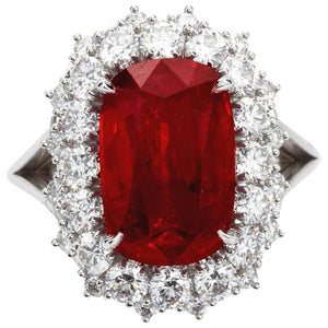 Big Cushion Cut Red Ruby With Diamond Ring White Gold 14K 7.25 Ct Gemstone Ring