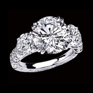 Big Diamond Ring 6 Ct. Diamonds 3 Stone Ring White Gold Three Stone Ring