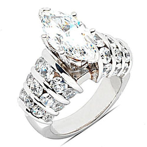 Big Diamond Ring Marquise Cut Diamonds 4.75 Ct. Ring Solitaire Ring with Accents