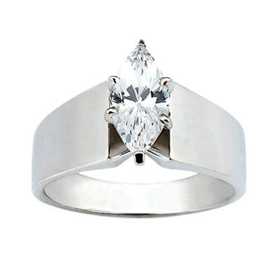 Big Diamond Solitaire Ring 2.5 Carats Marquise Cut Gold Solitaire Ring