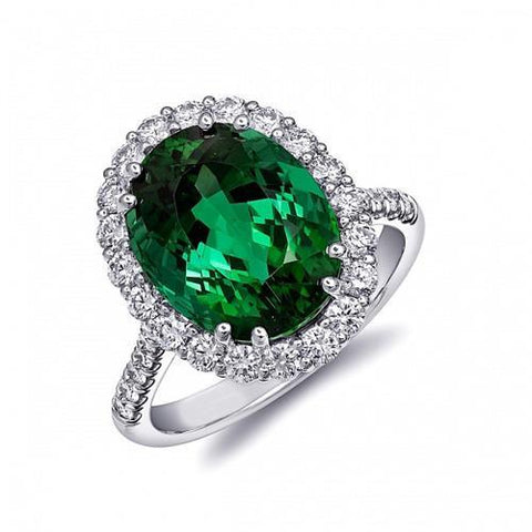 Big Emerald With Diamonds 4.25 Carats Engagement Ring 14K White Gold Gemstone Ring