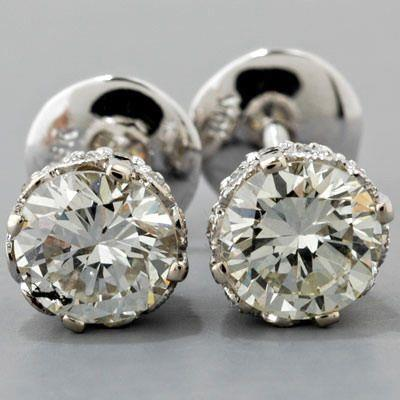 Big Gorgeous Round Solitaire Diamond Stud Earring White Gold 4 Carats Stud Earrings