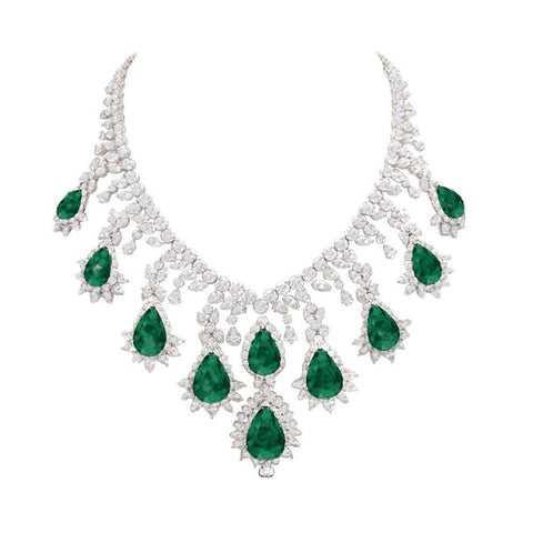 Big Green Emerald & White Diamonds 228.35 Carats Necklace New Gemstone Necklace