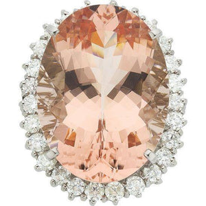 Big Morganite With Small Diamonds 18.50 Ct. Ring New White Gold 14K Gemstone Ring