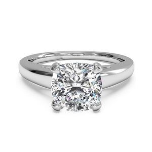Big Sparkling Cushion Cut 3 Carat Diamond Engagement Ring White Gold Solitaire Ring