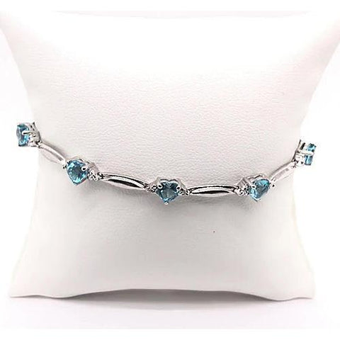 Blue Amethyst Heart Shape Diamond Bracelet 9.54 Carats White Gold 14K Gemstone Bracelet
