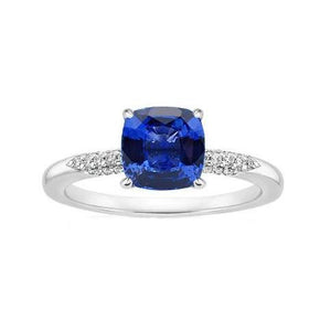Blue Cushion Cut Sapphire And Diamond Wedding Ring Gold 14K 2 Ct. Gemstone Ring
