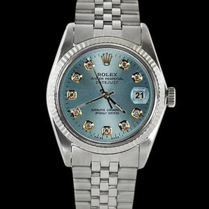 Blue Diamond Dial Fluted Rolex Bezel Men Watch Ss Jubilee Bracelet Rolex