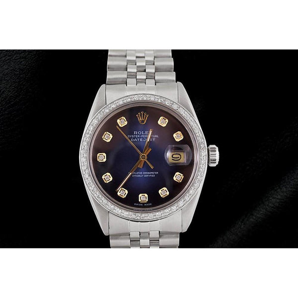 Blue Diamond Dial Jubilee Bracelet Ss Rolex Datejust Watch Rolex
