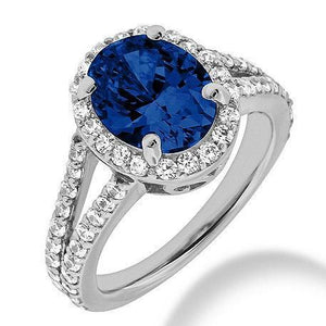 Blue Oval Cut Sapphire Diamond Ring White Gold 14K 2.40 Carats Gemstone Ring