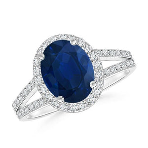 Blue Oval Sapphire Ring With Accents Diamond White Gold 14K 4.5 Ct Gemstone Ring