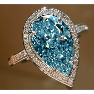 Blue Pear Center Diamond 5.01 Carats Wedding Ring Gemstone White Gold 14K Gemstone Ring