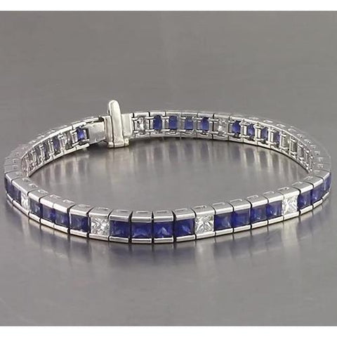 Blue Sapphire Diamond Tennis Bracelet Princess Cut 25 Carats White Gold 14K Gemstone Bracelet
