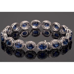 Blue Sapphire Tennis Bracelet Prong Set 39 Carats Women Jewelry Gemstone Bracelet
