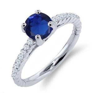 Blue Sapphire With Diamonds Ring 3.80 Ct White Gold 14K Gemstone Ring