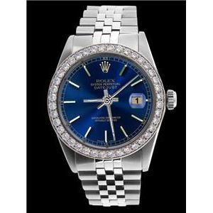 Blue Stick Dial Watch Ss Jubilee Diamond Perpetual Rolex Mens Rolex