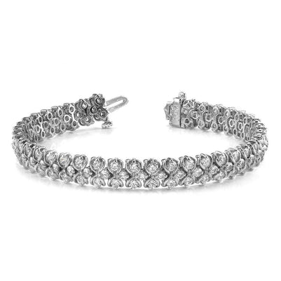Bracelet White Gold 14K 18 Ct Round Cut Diamonds Figure Eight Link Tennis Bracelet