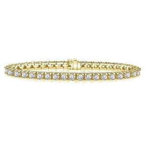 Brilliant Cut 12.8 Ct  F/G Vs2/Si1 Prong Set Diamonds Tennis Bracelet Yellow Gold Tennis Bracelet