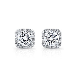 Brilliant Cut 3.45 Ct  Halo Diamonds Ladies Studs Earrings 14K White Gold Halo Stud Earrings